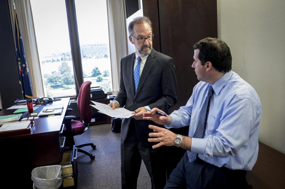David Weil, here with director of communications Michael Kravitz, faced opposition during his confirmation from Republicans and business groups.